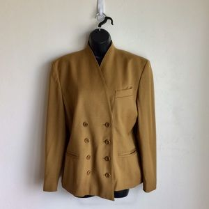 ESCADA Skirt Suit Camel Doubled Breasted Size 38